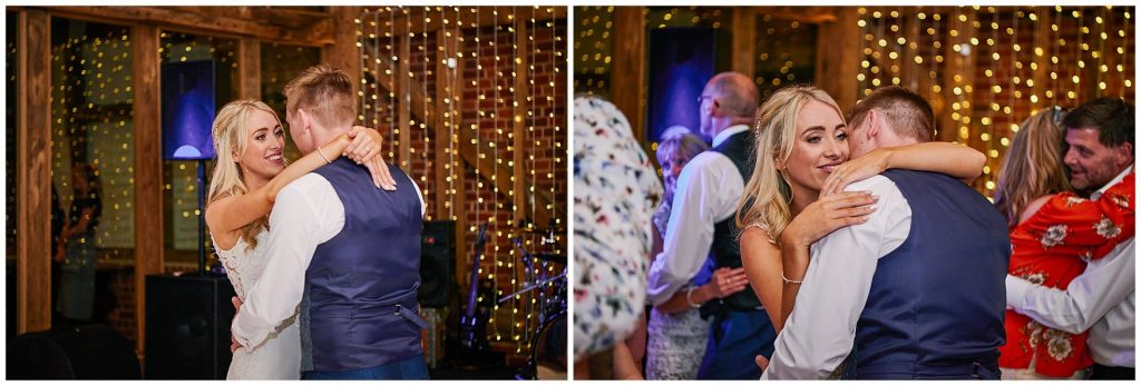Bride and groom dancing together during evening reception at Micklefield Hall