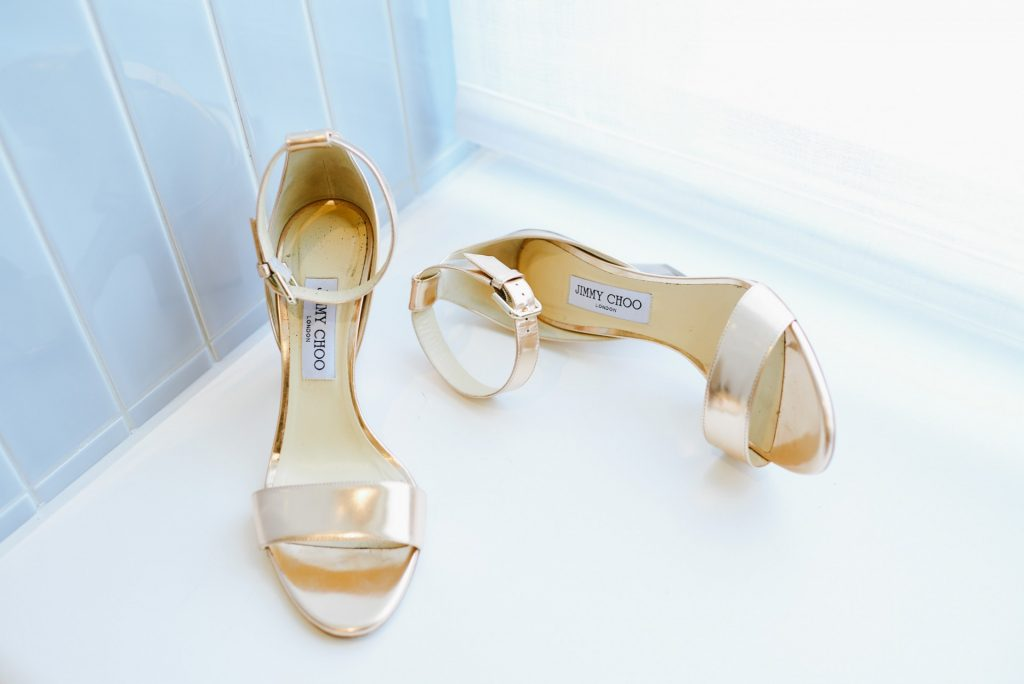 Jimmy Choo shoes in bridal suite