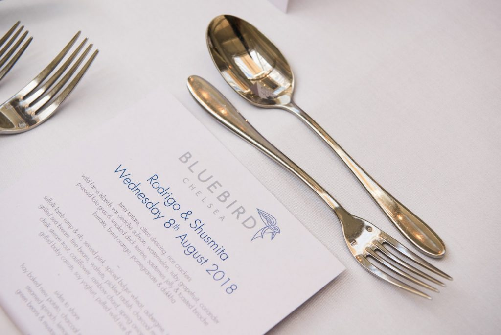 wedding menu on the dinner table at Bluebird in Chelsea, London