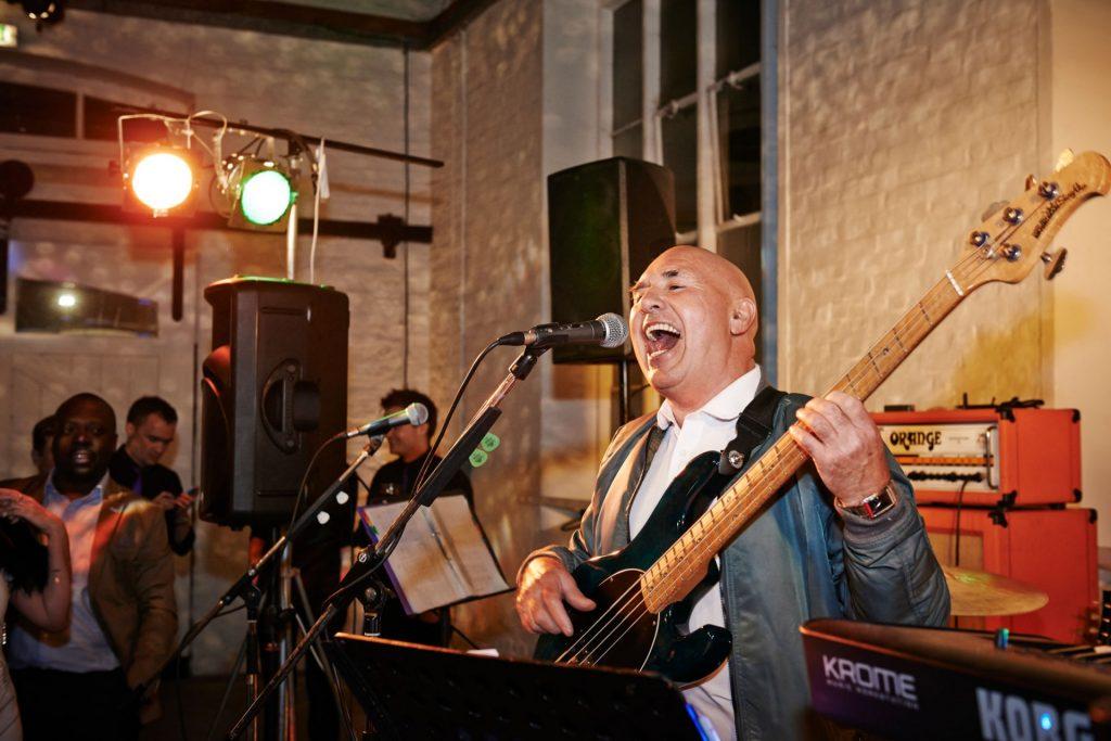 Wedding guest performing during reception at Trinity Buoy Wharf Wedding Venue