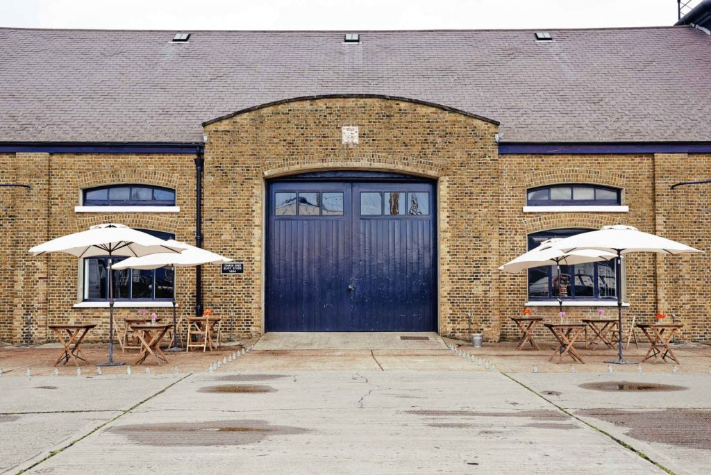 Exterior shot of The Chainstore at Trinity Buoy Wharf during a warehouse wedding