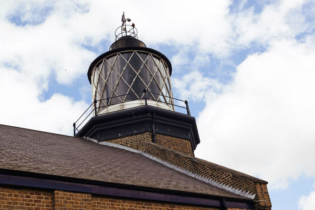 Exterior shot of the lighthouse at Trinity Buoy Wharf warehouse wedding venue